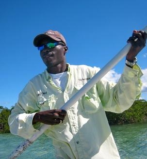 Bonefishing guide Darin Bain of D.B.Tours bonefishing in the Turks and Caicos Islands photo by Marta Morton