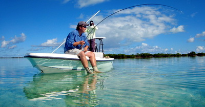 Bonefish with guide Darin Bain of D.B.Tours Turks and Caicos Islands photo by Marta Morton
