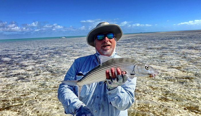 D.B.Tours bonefishing with island guide Darin Bain on the bonefishing flats of Provo Turks and Caicos Islands