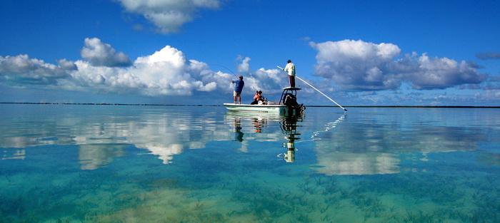 D.B.Tours bonefishing with island guide Darin Bain on the bonefishing flats of Provo Turks and Caicos Islands  photo by Marta Morton
